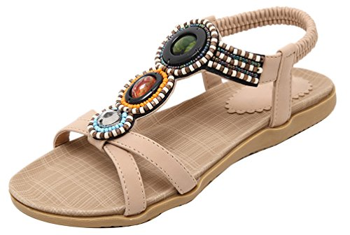 CFP 148-A9 Womens New Stylish Bohemian Exquisite Folkways Pretty Stones Non Skid Shoes Pliable Flat Heel Fresh Open Toe Sandals Casual Beach Leisure Slip On Elastic Steady Beige