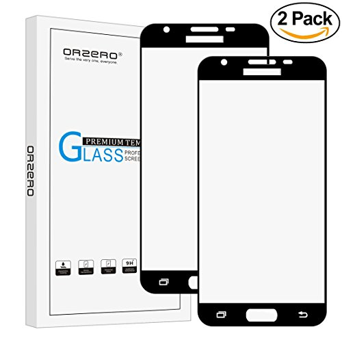 [2 Pack]Orzero For Samsung Galaxy J3 Luna Pro / J3 Emerge / J3 V / J3 2017 [ Full Cover ] Tempered Glass Screen Protector, Orzero 2.5D Arc Edges 9 Hardness HD [ Lifetime Replacement Warranty ]