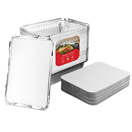 (Disposable Aluminum Foil Oblong Pans with Cardboard Lid Covers (50 Pack) 2 Lb Food Storage Containers with Lids for Cooking, Baking, Meal Prep, Takeout and Freezer)