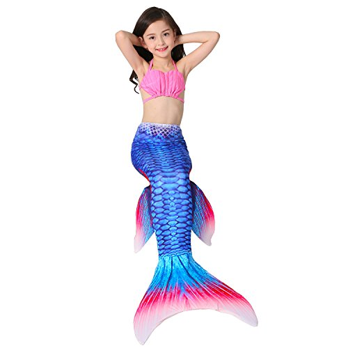[Lonchee Girl's 3pcs Mermaid Tail Swimmable Princess Bikini Set Costume Swimsuit Can Match Monofin for Swimming] (Mermaid Fairy Costumes)