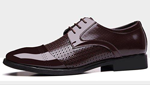 CSDM Pelle di cuoio genuino di cuoio genuino di affari degli uomini del New England di ha puntato i pattini casuali di cerimonia nuziale delle scarpe singole di formato grande , brown , 41