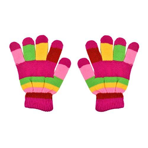 Fuschia Striped Kids Gloves Magic Knit Gloves