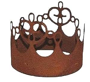 Corona en oxidado con ornamentación 13,5cm, con placa base