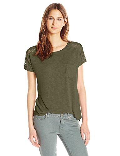 (Paper + Tee Women's Short Sleeve Lace Trim Shoulder Top, Olive,)