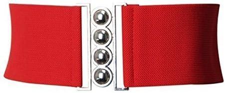 SILVER CLASP WAIST BELT 50S CORSET STYLE LADIES ELASTICATED WAIST BUCKLE BELT Large, Red