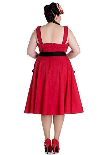 Hell Martie Retrokleid Damen Polka mit Plus Size schwarzen Dots Bunny Dots Kleid Kirschrot Punkte pq6prwTgU