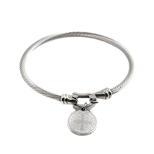 Qiao La Stainless Steel Saint Benedict of Nursia Medals Cable Bangle Bracelet (sliver)