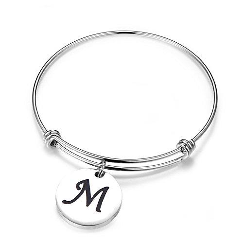 let Letter Bracelet Expandable Wire Bangle Bracelet with Heart Charm (M) ()