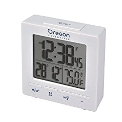 Oregon Scientific RM511A White Portable Dual Alarm Clock with Temperature Date Backlight for Home Office Travel