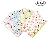 Expanding Floral Printed Portable Classification 5 Pockets with Snap Button File Folder for School and Office, 4 Packs