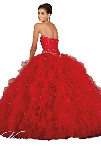 47a74bb43fd Diandiai Sweetheart Quinceanera Dress Beads Ruffles Ball Gown Prom ...