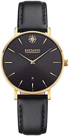Kistanio Petit Montre pour Femme avec Verre Saphir, Bracelet milanais et Bracelet en Cuir GO-BLKS-M-L-BK