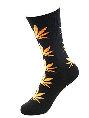Zando Marijuana Weed Leaf Printed Cotton Unisex Colorful Sports Comfort High Crew Socks Black Orange