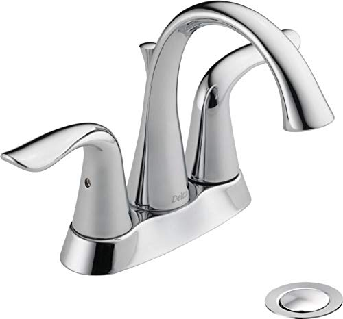 Delta Faucet Lahara Centerset Bathroom Faucet Chrome, Bathroom Sink Faucet, Diamond Seal Technology, Metal Drain Assembly, Chrome 2538-MPU-DST