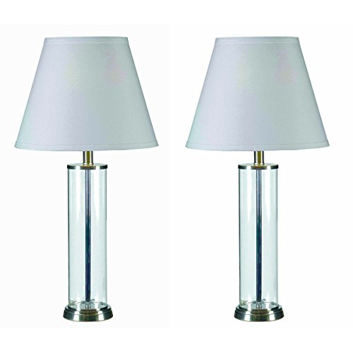 Set Of 2 Clear Glass Finish Fillable Table Lamp 100 W Amazon Com