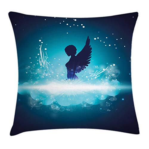 Angel Fantasy Art - Ambesonne Blue Throw Pillow Cushion Cover, Fantasy Mythology Themed Artwork with a Angel Woman Silhouette Wings Bubbles, Decorative Square Accent Pillow Case, 16 X 16 Inches, Dark Blue Light Blue