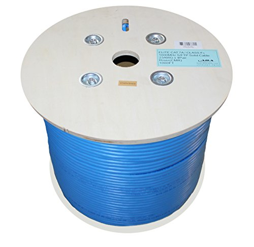 - Infinity Cable CAT7A CMR Riser 1000MHz S/FTP 23AWG, 1000 Feet, Solid, 100% Bare Copper, UL Certified, Bulk Cable, Reel, Blue