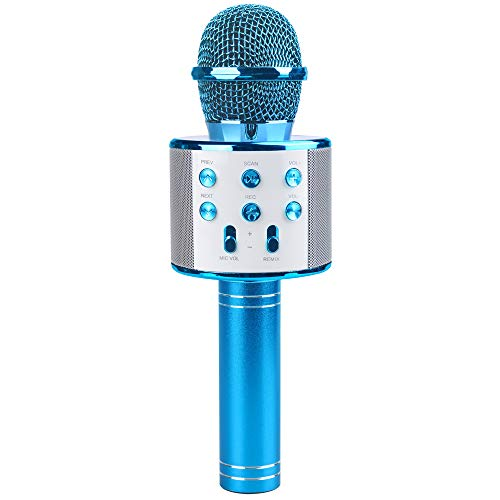 Karaoke Microphone for Girls, Wireless Microphone Toy for 4-9 Year Old Girls Kid Microphone Machine for Girl Home Party Gift for 5-10 Year Old Kids Boy Birthday Gift Age 6 7 8 Girl Children Blue Mic