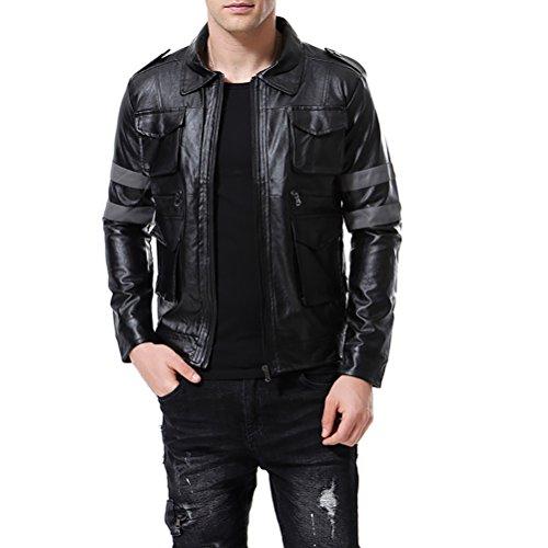 Men's Faux Leather Bomber Jacket Punk Moto Black 4 Pockets Coat