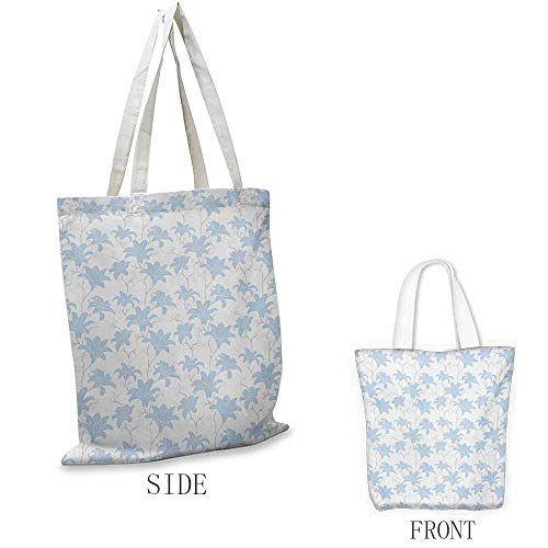 - Floral Exquisite shopping bag Adoration Love Expressing Ornate Plants Retro Romantic Soft Color Summer Flower Foldable shopping bag W15.75 x L17.71 Inch Baby Blue White