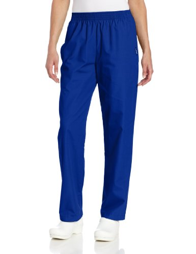 Landau Women's Comfortable Relaxed Fit 2-Pocket Elastic Waist Scrub Pant, Galaxy Blue, X-Large