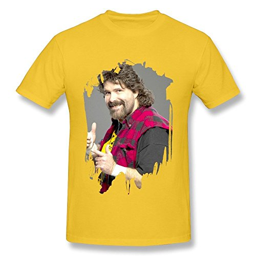 Price comparison product image Men's Mick Foley Wrestler Poster O-neck T-shirts Size XL Yellow