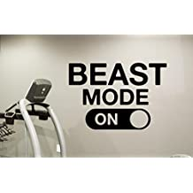 Beast Mode Gym Motivational Wall Decal Healthy Lifestyle Gym Decor Fitness Vinyl Sticker Fitness Motivation Sports Wellness Gym Wall Art Design Gym Quote Wall Art Mural 55fit