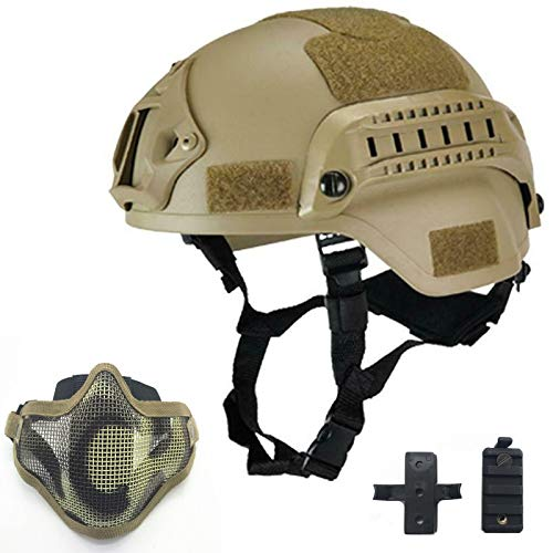 Willbebest Tactical Airsoft Paintball MICH 2000 Helmet with Side Rail & Wing-Loc Adapter, Comes with a Half Face Metal Mesh Airsoft Mask