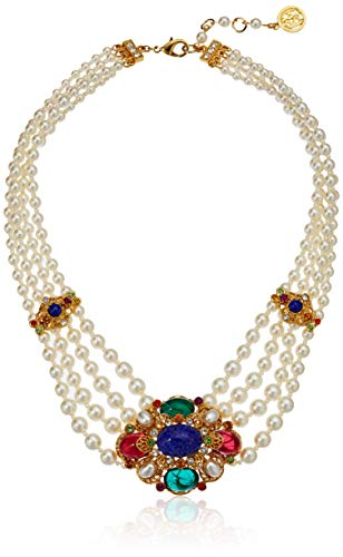 Ben-Amun Jewelry Victoria Multicolor Crystal Station Pearl Strand Pendant Necklace, 13 in. long