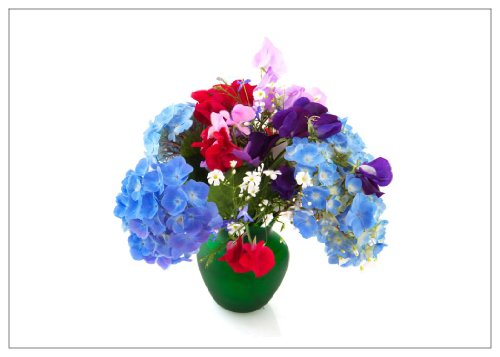 NW Pitney Ink Hydrangea and Sweet Pea Blank Greeting Card, 7 x 5 Inches ()