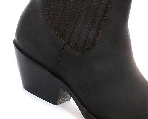 Schleifmaschinen GRINDERS Mustang braun echtes Leder Cowboy-Stiefel Slip-On Cuban Heel Chelsea Boots neue westliche Mode stilvolle Hand gearbeitete Schuhe