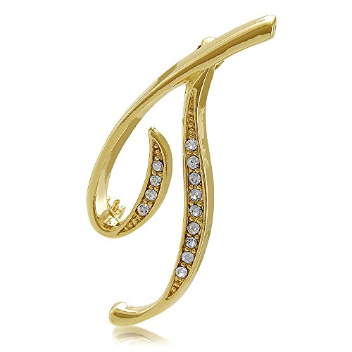 - BERRICLE Gold Flashed Base Metal Initial Letter 'T' Wedding Brooch Pin