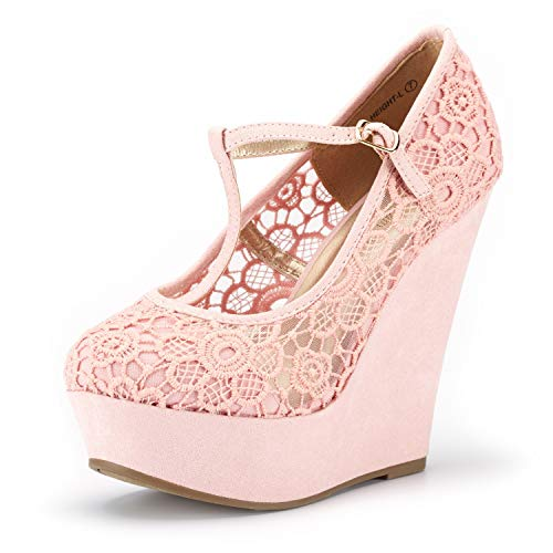 DREAM PAIRS Wedge-Height-l Pink Lace Crochet Mary Jane Platform Wedges Shoes for Women Size 7.5 B(M) - Shoe Toe Lace Round Pump