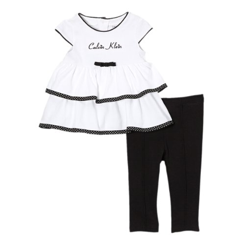 Calvin Klein Baby-Girls Infant Tunic with Leggings, Black/White, 24 Months