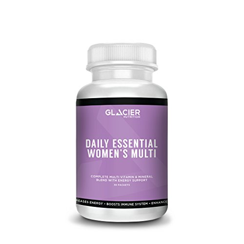 Glacier Nutrition Daily Essential Multivitamin for Women – 30 packets – No Gluten, Preservatives, or Artificial Ingredients