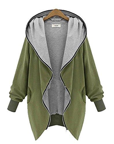 (マイケルスウィート)MICHAEL SWEET 秋 冬 長袖 暖かい フード付き オーバーコート ジャケット レディース ジップカーディガン ゆったり ジップアップパーカー カジュアル スタイル カーキ 選べる2色 大きいサイズ あります!
