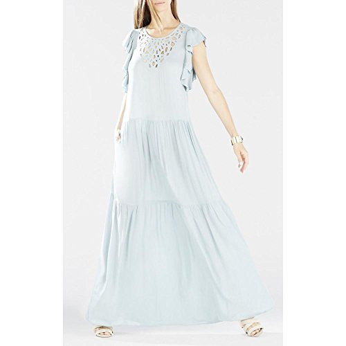 BCBGMAXAZRIA BCBG Maxazria Lyndsy Flutter Sleeve Cutout Embroidered Maxi Dress (Embroidered Cut Out Dress)