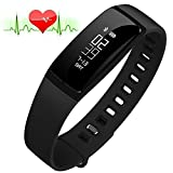Fitness Tracker, RIVERSONG Heart Rate Monitor Blood Pressure Bracelet Sedentary Reminding Sleep Management Alarm SNS Call Reminder Pedometer Sport Activity Healthy Wristband with OLED Touch Screen Smart Watch for Android iOS Smartphones