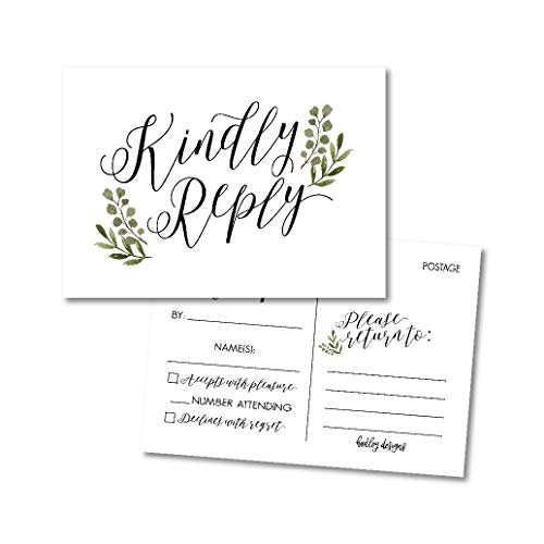 (25 Blank Greenery RSVP Cards, Response Postcard Kindly Reply For Weddings, Bridal Rehearsal Dinner, Baby Shower, Birthday, Engagement, Bachelorette Party Invitation Kits No Envelopes Needed Card Stock)