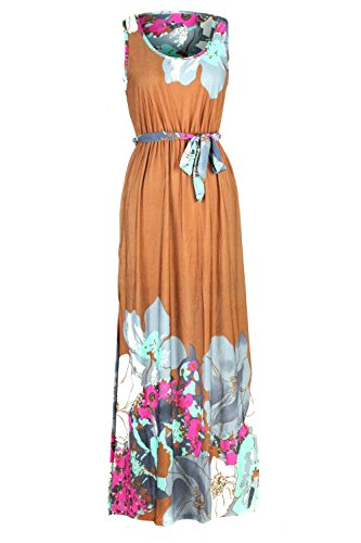 (G2 Chic Women's Bohemian Summer Smocked Jersey Maxi Dress(DRS-MAX,LBNA1-XL))