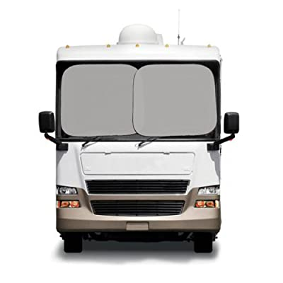 Two Piece Spring Front RV Windshield Sunshade - Silver