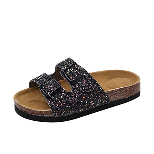 Women's Sequins Double Buckle Flat Beach Slippers Fashion Thick Bottom Sandals Heels Sandals for Women Girls Sexy Black