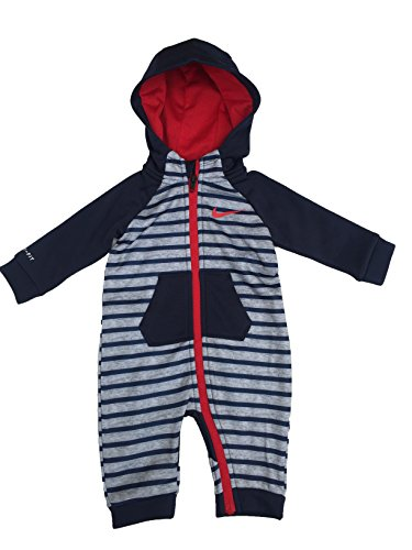 Nike Infant All Day Play Fleece Coveralls (3-6 Months, Obsidian (695) / University Red/Stripes) (Striped Fleece Coveralls)