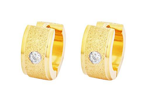 Edforce Stainless Steel 18k Gold Unisex AAA Cubic Zirconia Inlay Sandy Textured Huggie Hoop Earrings, (7mm x 9mm) (Gold)