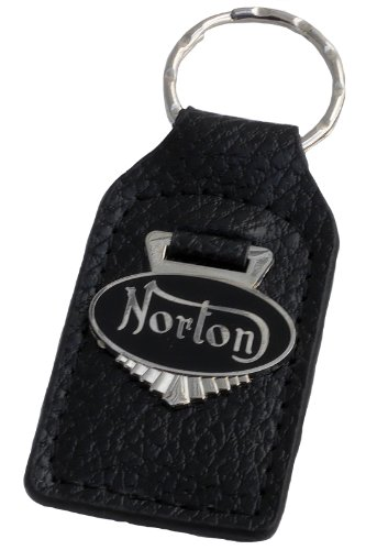 Norton Motorcycle Leather and Enamel Key Ring Key Fob