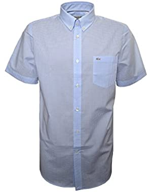 Lacoste Men's Regular Fit Blue Check Short Sleeve Shirt!