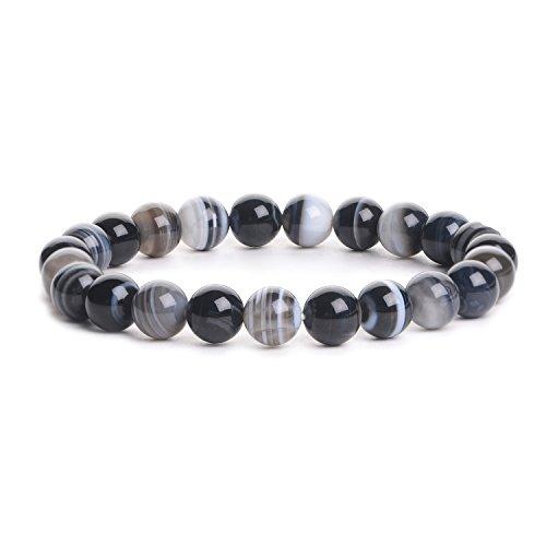 elets Natural Genuine Gemstones Birthstone Handmade Healing Power Crystal Beads Elastic 7.5 Inch Unisex (8mm, Black Banded Agate) 204703917 (Black Banded Agate Gemstone)
