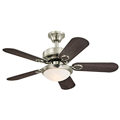 """Westinghouse 7203200 Cassidy Two-Light 36"""" Reversible Five-Blade Indoor Ceiling Fan, Brushed Nickel"""