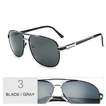 TIANLIANG04 Gafas Para Hombre Moda Gafas Polarizadas Guía Clásica,Negro Gris