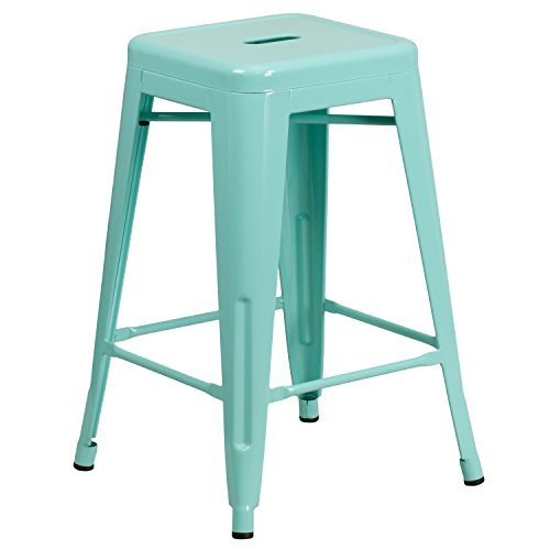 Flash Furniture 24'' High Backless Mint Green Indoor-Outdoor Counter Height Stool (Metal Backless Counter Stools)